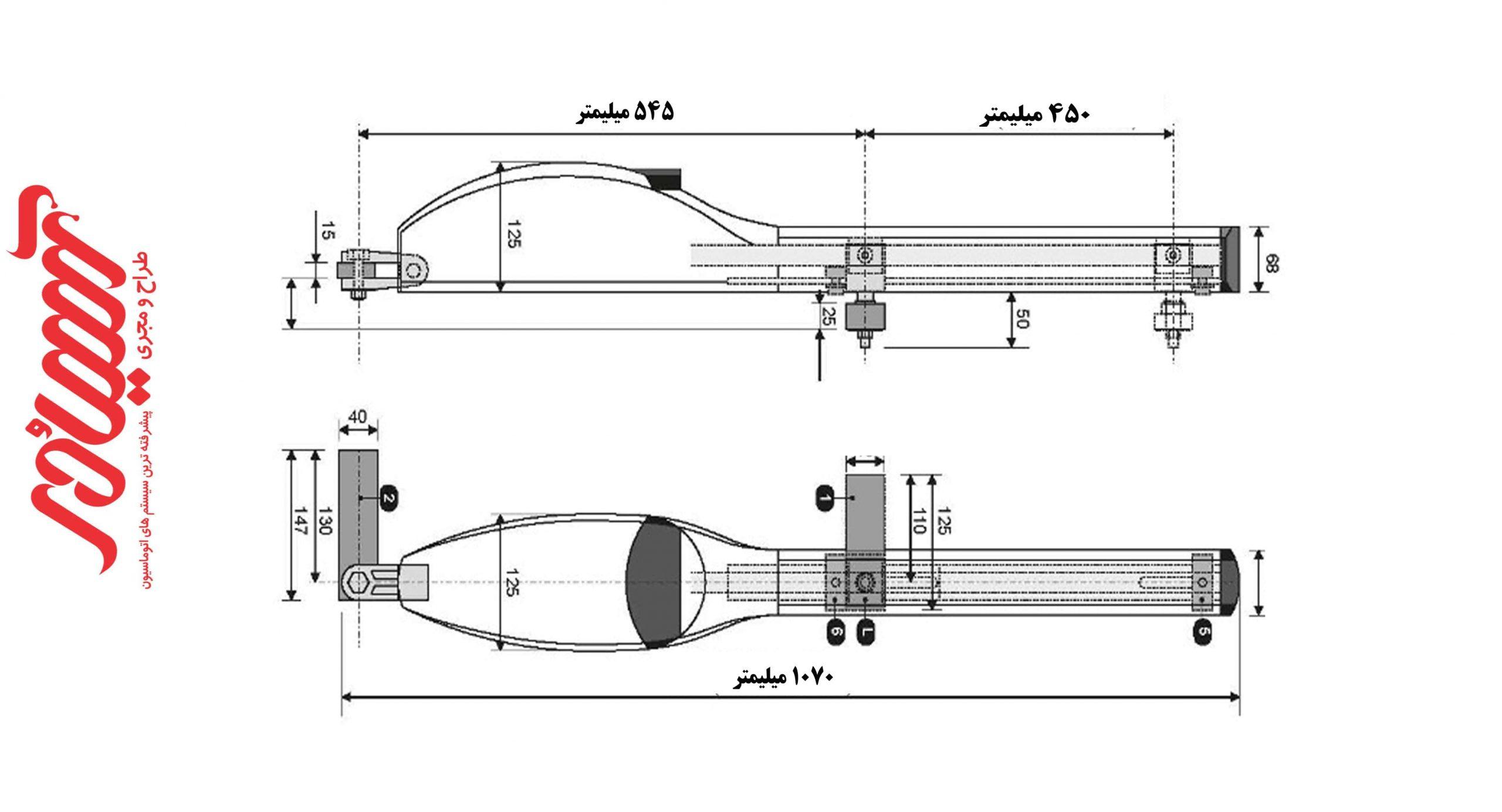 ابعاد جک درب اتوماتیک توسک مدل SWING X
