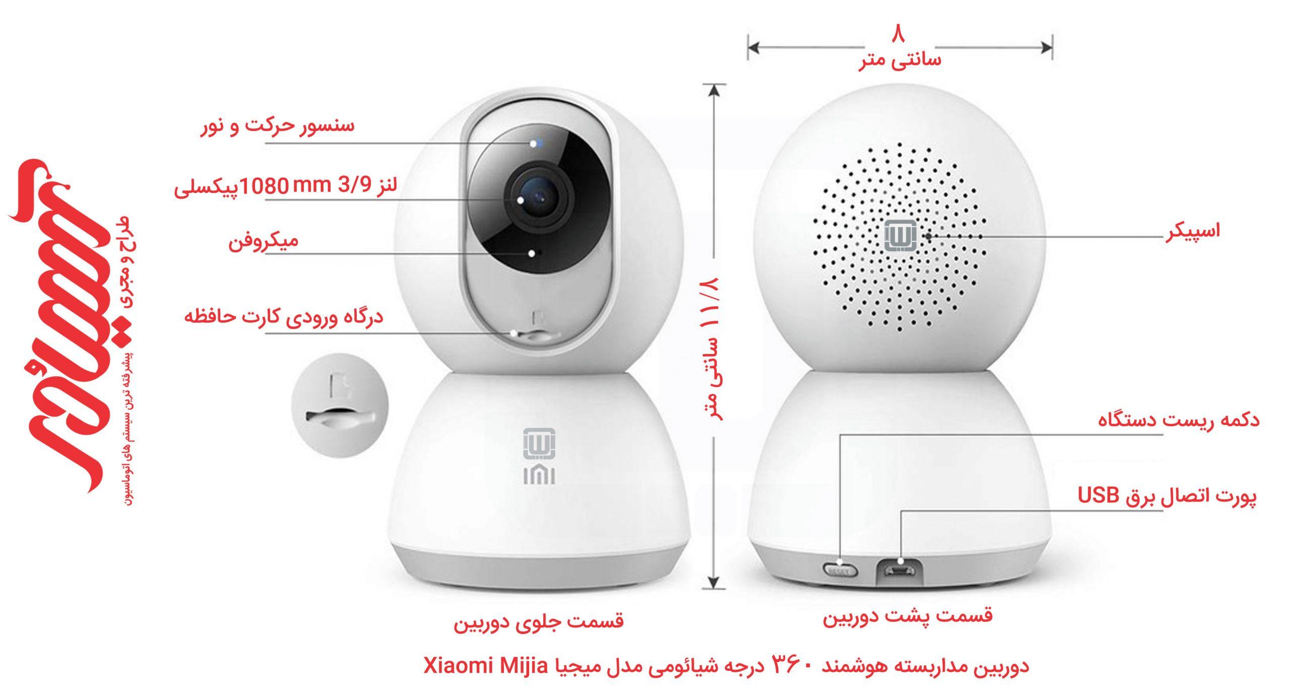 ابعاد دوربین مداربسته 360 درجه میجیا Xiaomi
